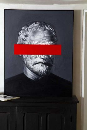 Lifestyle image of the Large Framed Oil Painting Of An Incognito Philosopher