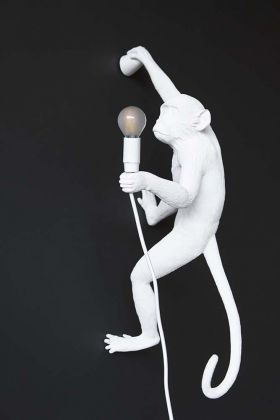 Right-Hand Hanging Monkey Wall Lamp - White
