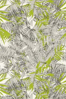 detail image of Christian Lacroix Butterfly Parade Collection - Eden Roc Wallpaper - Amazonie PCL017/07 - ROLL grey and green palm leaves on pale background repeated pattern