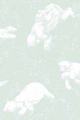 detail image of BorasTapeter Scandinavian Designers Mini Collection Wallpaper - Polar 6258 - ROLL white polar bears on mint green background repeated pattern