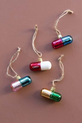 Image of the Set Of 4 Assorted Colour Chill Pill Hanging Decorations