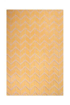 Image of the Sunflower Yellow Chevron Rug on a white background