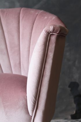 detail image of The Lovers Velvet Chair - Left Hand Facing - Blush with grey wall background