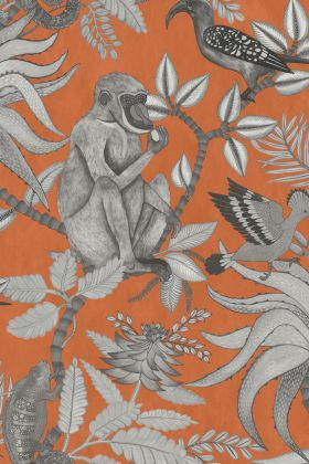 detail image of Cole & Son - The Ardmore Collection - Savuti - 190/1001 black and white monkey and birds on branches with leaves on orange background