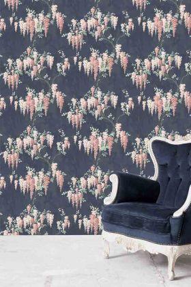 Wisteria Wallpaper by Pearl Lowe - Midnight Mint WM-223 - ROLL