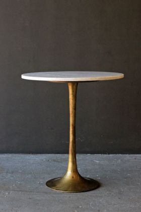 Image of the Round Brass Coffee Table With Marble Top