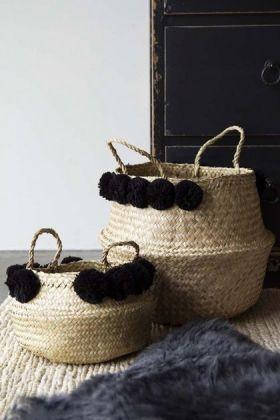 Set Of 2 Straw Baskets With Black Pom Poms