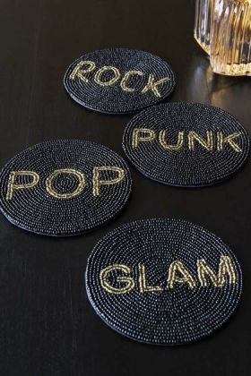 Image of the Set Of 4 Beaded Coasters: Rock, Pop, Glam & Punk