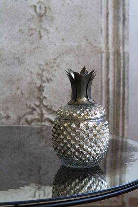 Lifestyle image of the Silver Glass Pineapple Trinket Storage Jar