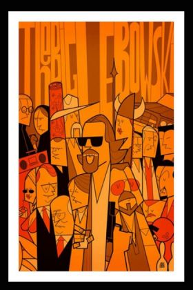 cutout image of the big lebowski unframed fine art print in black frame