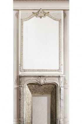 cutout image of Trompe L'Oeil Velvet Wall Covering - Fireplace on white background