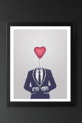 detail image of cutout image of unframed mr valentine fine art print in black frame on dark wall background