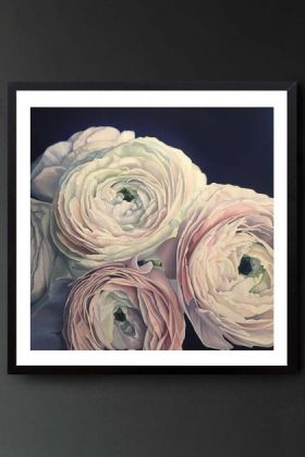 lifestyle image of Unframed Art Print By Amy Carter The Pursuit Of Happiness pink and white roses on navy background in black frame hung on dark grey wall background