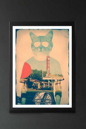 lifestyle image of Unframed Cool Cat Art Print in black frame on dark wall background
