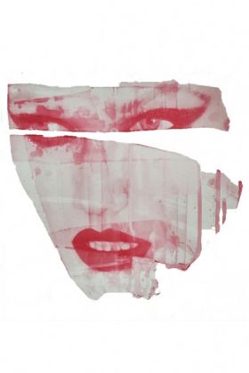 cutout image of Unframed Masks V Art Print By Amber Devetta pink distressed woman's face