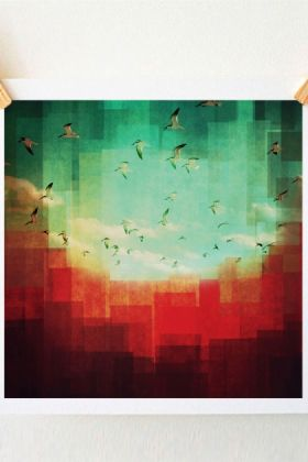 lifestyle image of Unframed Summer City Art Print By DejaReve blue green and red toned print with wooden pegs and pale wall background