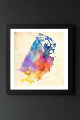 lifestyle image of unframed sunny leo fine art print watercolour rainbow lion in black frame on dark wall background