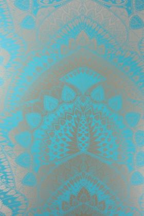 detail image of Matthew Williamson Azari Wallpaper - Aqua Blue W6952-02 - ROLL blue and silver mandala repeated pattern