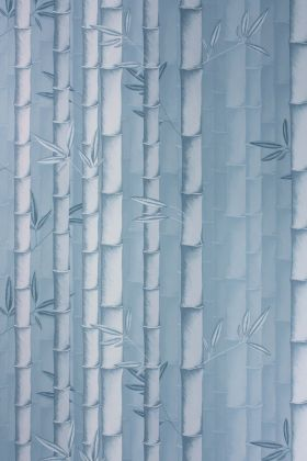 detail image of Osborne & Little Bamboo Wallpaper - Blue W7025-04 - ROLL different blue toned bamboo stems repeated pattern