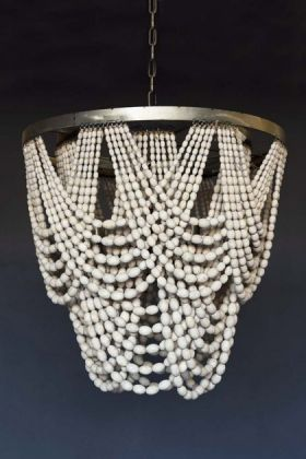 White Wooden Beaded Waterfall Chandelier