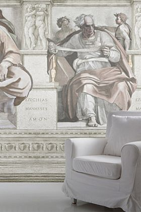 lifestyle image of young & battaglia fresco wallpaper mural wallpaper with white armchair