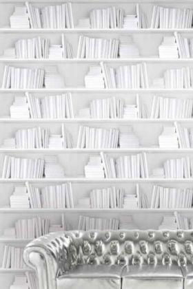Young & Battaglia Bookshelf Wallpaper - White - PANEL
