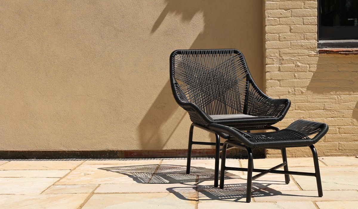 Alfresco Woven Rattan Outdoor Chair With Foot Stool