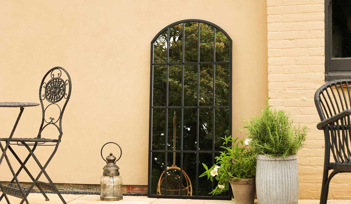 Black Metal Window Pane Arch Indoor/Outdoor Mirror