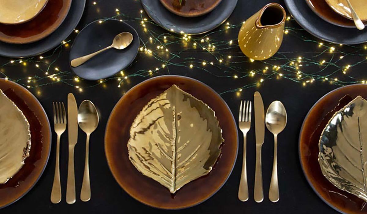 Christian Tortu Riviera Glossy Gold Leaf Plate