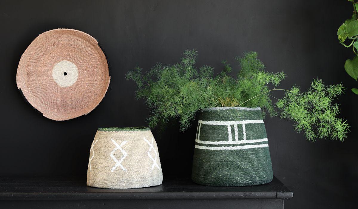 Green & Light Blue Storage Basket