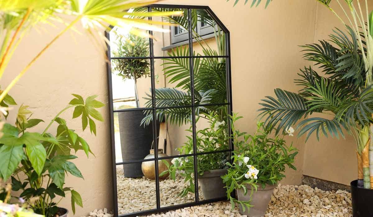 Matt Black Window Pane Metal Indoor/Outdoor Mirror With Sloping Corners