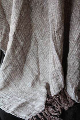 detail image of ash brown linen throw