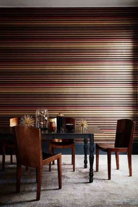 lifestyle image of Cole & Son Marquee Stripes Collection - Carousel Stripe Wallpaper - Rouge Red with black dining table and brown chairs