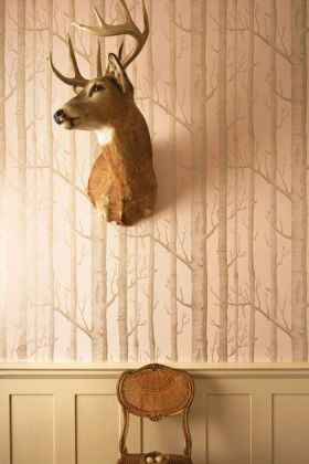 lifestyle image of cole & son whimsical collection - woods wallpaper - 3 colours available with stag head on wall and small wooden chair