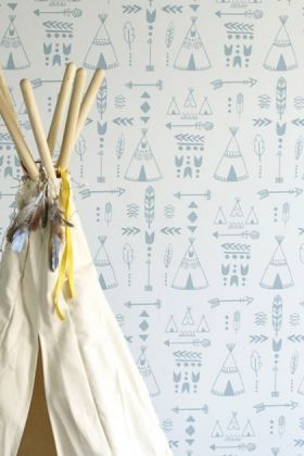 lifestyle image of hibou home teepees, a tribal gathering children's wallpaper - storm green/grey with tepee