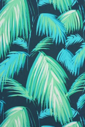 detail image of matthew williamson tropicana wallpaper green palm leaves on dark blue background