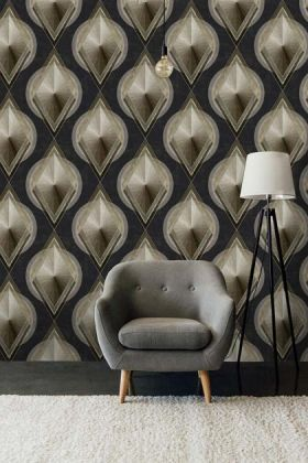 lifestyle image of Mind The Gap Metropolis Collection - Metropolis Wallpaper with grey armchair and black floor lamp with white shade