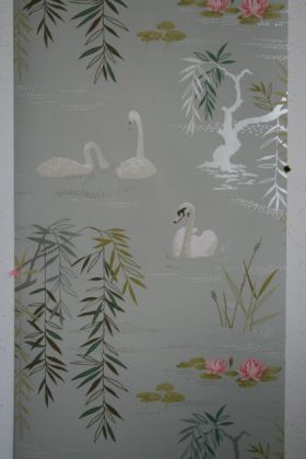 detail image of Nina Campbell Swan Lake Wallpaper white swans and green plants on grey background