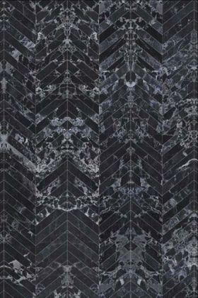 detail image of NLXL PHM-55 Black Marble Herringbone Tiles Wallpaper By Piet Hein Eek