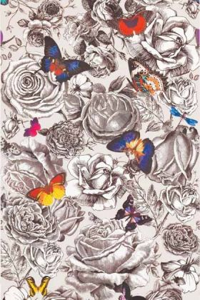 detail image of Osborne & Little Butterfly Garden Wallpaper grey flowers and colourful butterflies on pale pink background repeated pattern