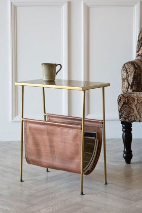 Lifestyle image of Brown Leather Magazine Holder Side Table with Gold Metal Top and Legs