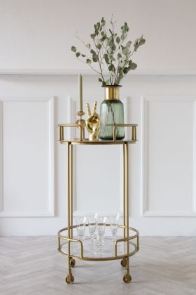 Lifestyle image of the Gatsby Marble & Brass Effect Drinks Trolley