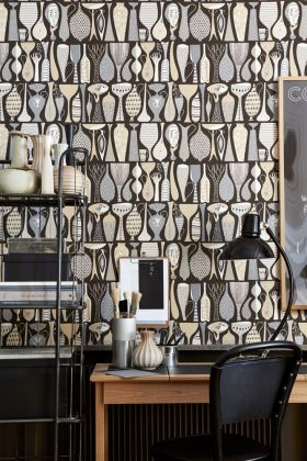 lifestyle image of borastapeter scandinavian designers II wallpaper - pottery - 3 colours available