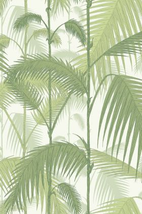 detail image of cole & son contemporary restyled - palm jungle wallpaper - soft yellow green on white