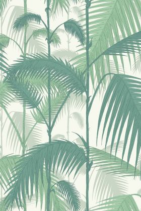 detail image of cole & son contemporary restyled - palm jungle wallpaper - teal green on white