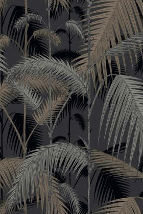detail image of cole & son contemporary restyled - palm jungle wallpaper - silver on black