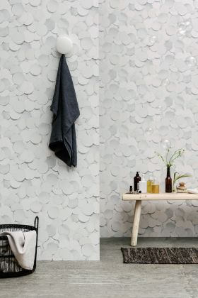 lifestyle image of engblad & co front dots wallpaper - 2 colours available in bathroom environment