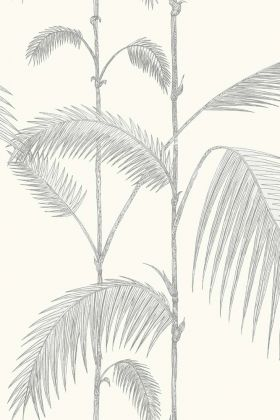 detail image of cole & son contemporary restyled - palm wallpaper - soft grey on white