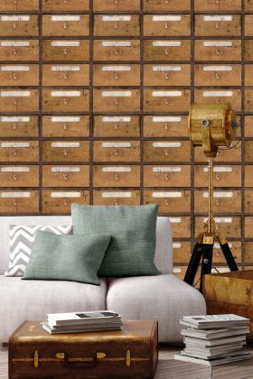 lifestyle image of mind the gap vintage pharmacy wallpaper with grey sofa with pillows and gold standing floor light