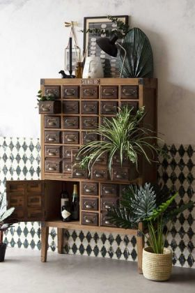 Traditional Apothecary-Style Drawer Cabinet